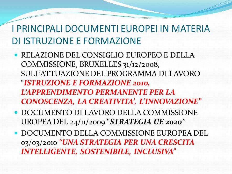 I PRINCIPALI DOCUMENTI EUROPEI IN MATERIA DI ISTRUZIONE E FORMAZIONE