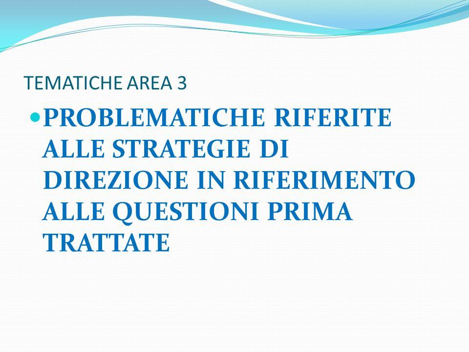 TEMATICHE AREA 3 PROBLEMATICHE RIFERITE ALLE STRATEGIE DI DIREZIONE IN RIFERIMENTO ALLE QUESTIONI PRIMA TRATTATE.