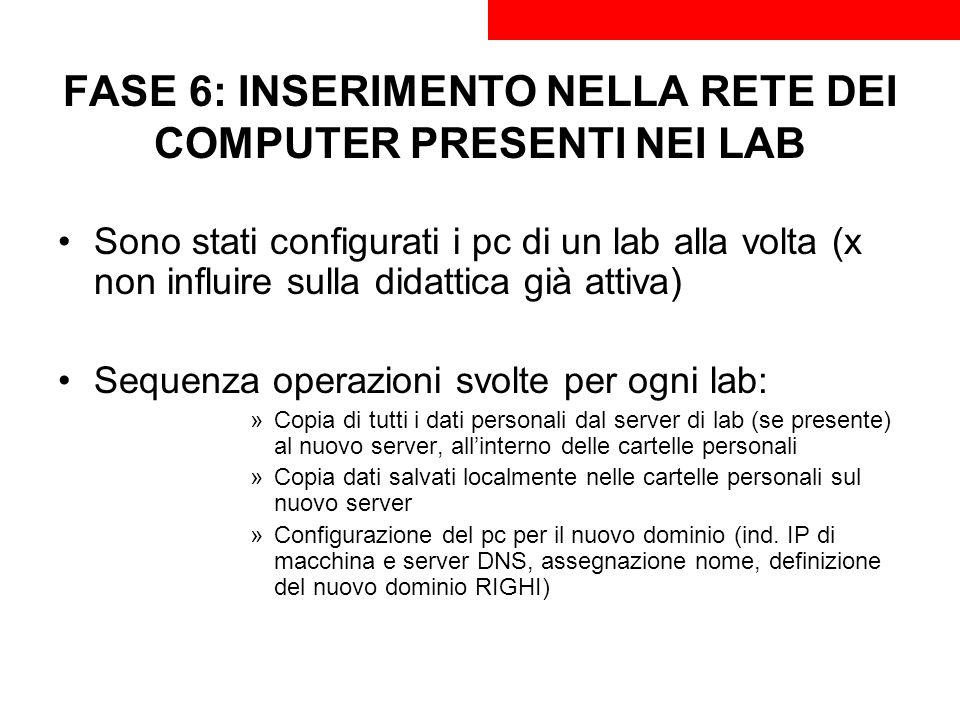 FASE 6: INSERIMENTO NELLA RETE DEI COMPUTER PRESENTI NEI LAB