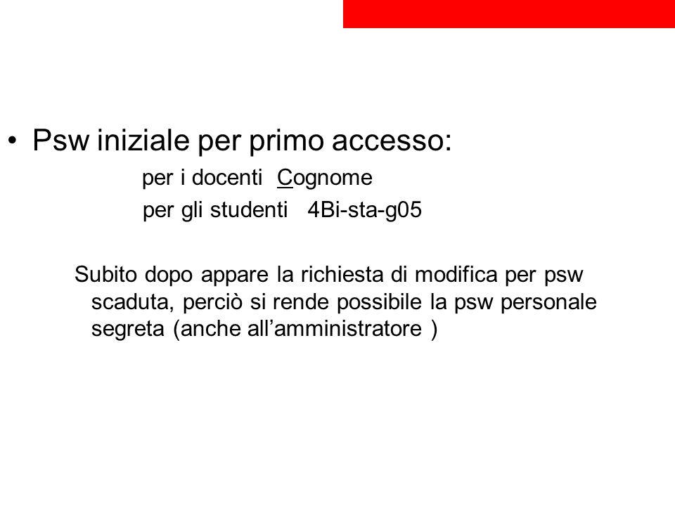 Psw iniziale per primo accesso: