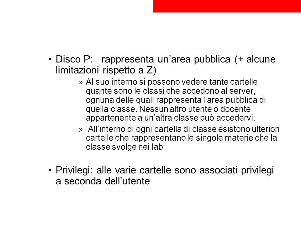 Disco P: rappresenta un'area pubblica (+ alcune limitazioni rispetto a Z)