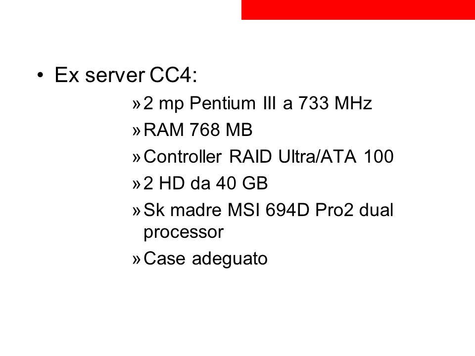 Ex server CC4: 2 mp Pentium III a 733 MHz RAM 768 MB