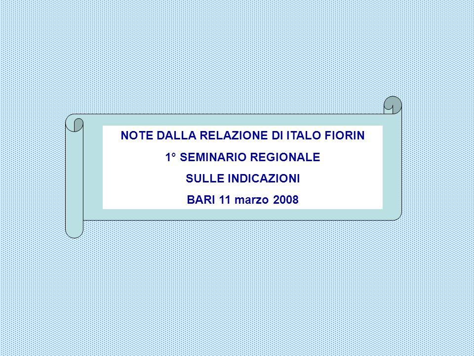 NOTE DALLA RELAZIONE DI ITALO FIORIN