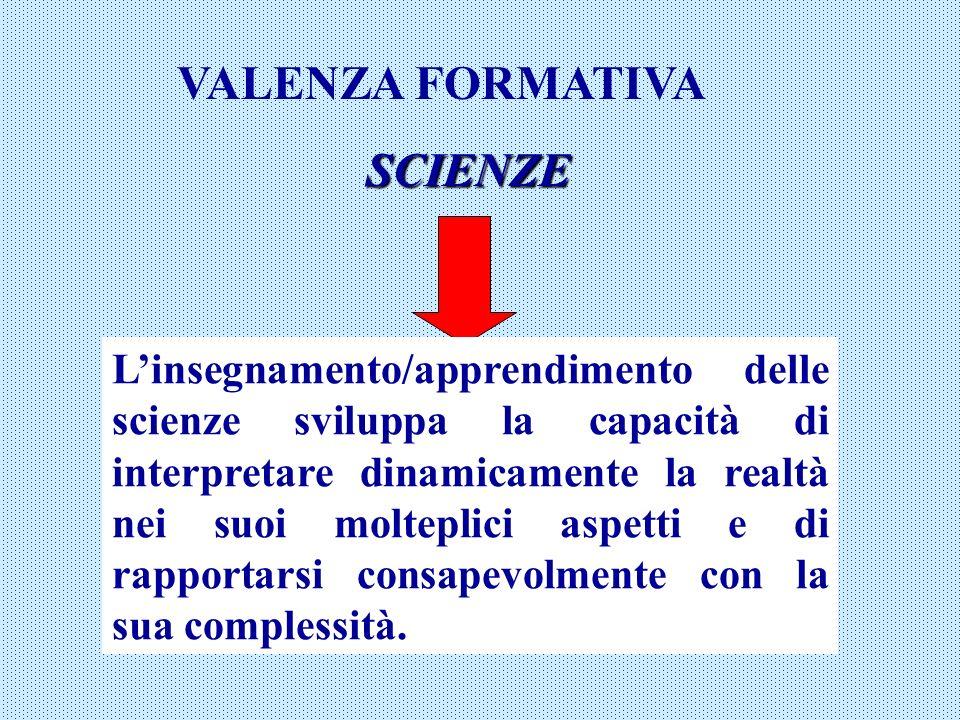 VALENZA FORMATIVA SCIENZE