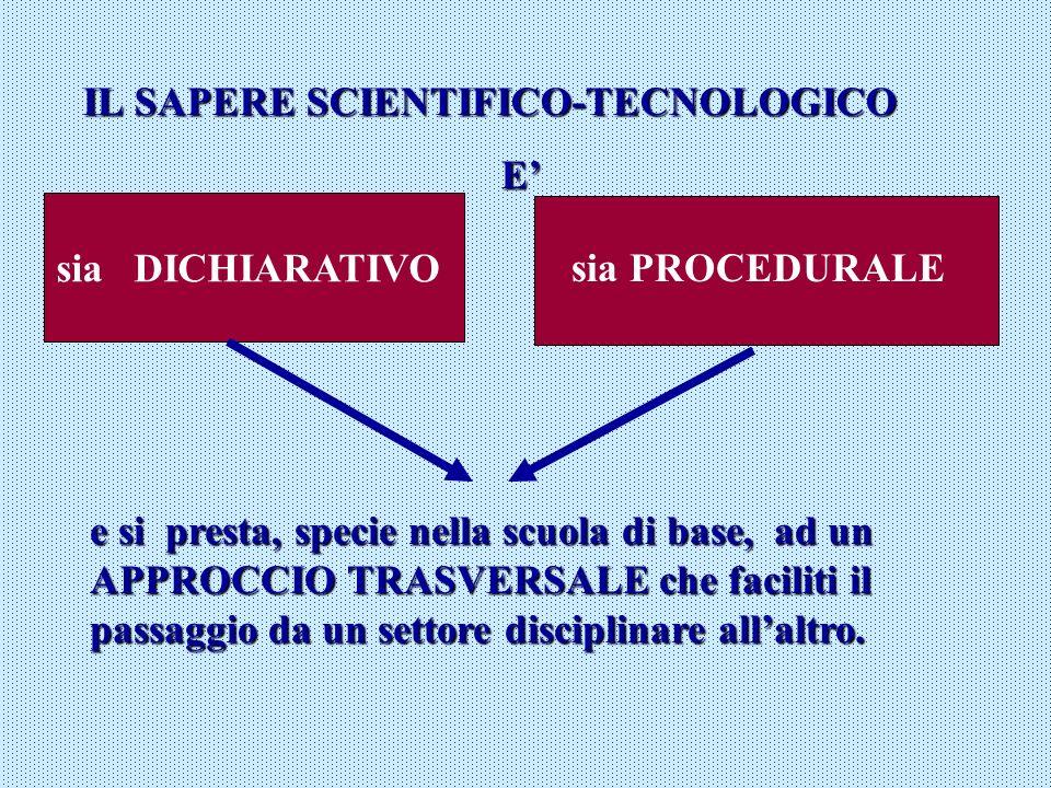 IL SAPERE SCIENTIFICO-TECNOLOGICO