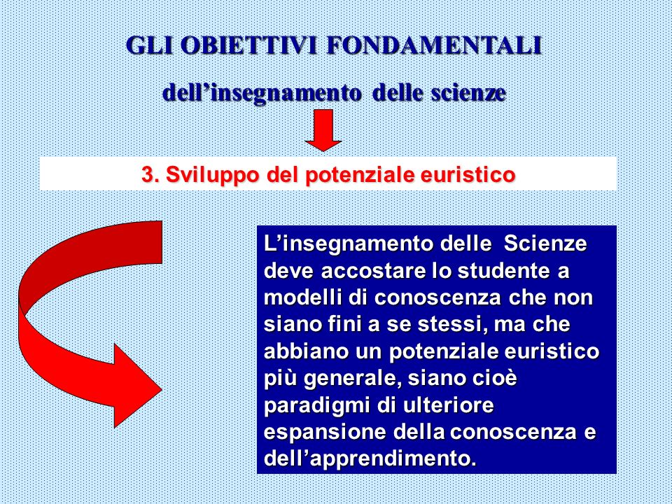 GLI OBIETTIVI FONDAMENTALI dell'insegnamento delle scienze