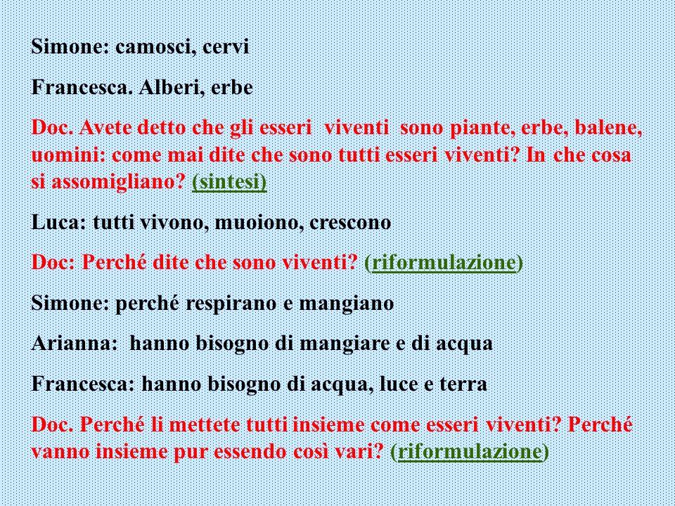 Simone: camosci, cervi Francesca. Alberi, erbe.
