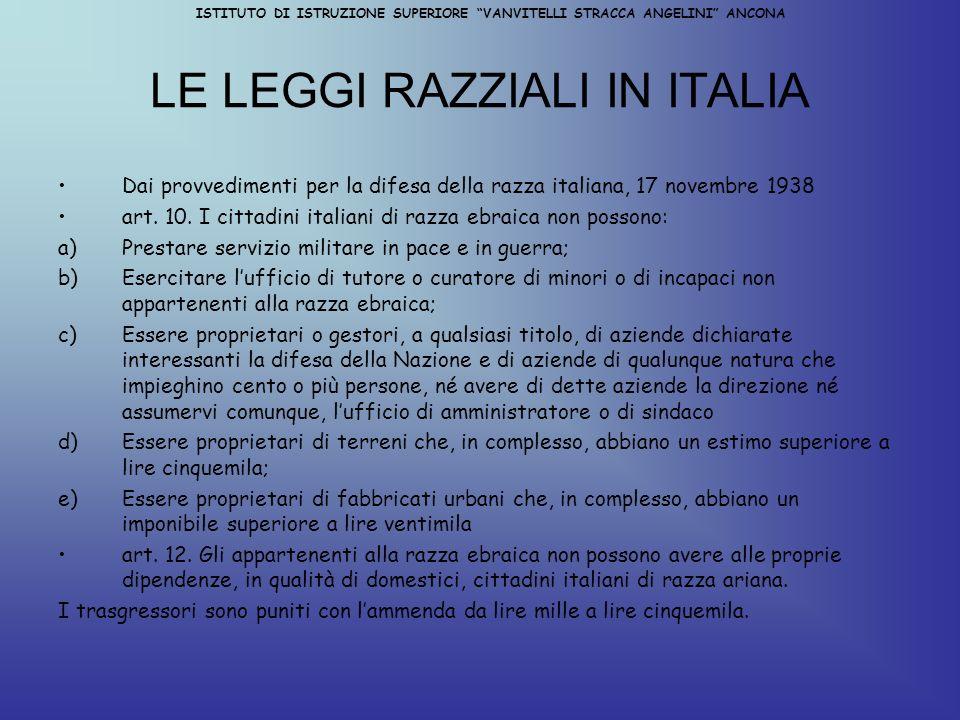 LE LEGGI RAZZIALI IN ITALIA