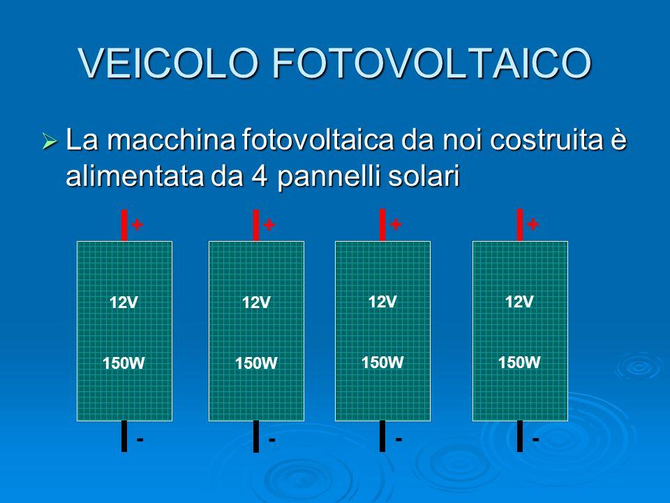 VEICOLO FOTOVOLTAICO La macchina fotovoltaica da noi costruita è alimentata da 4 pannelli solari. 12V.