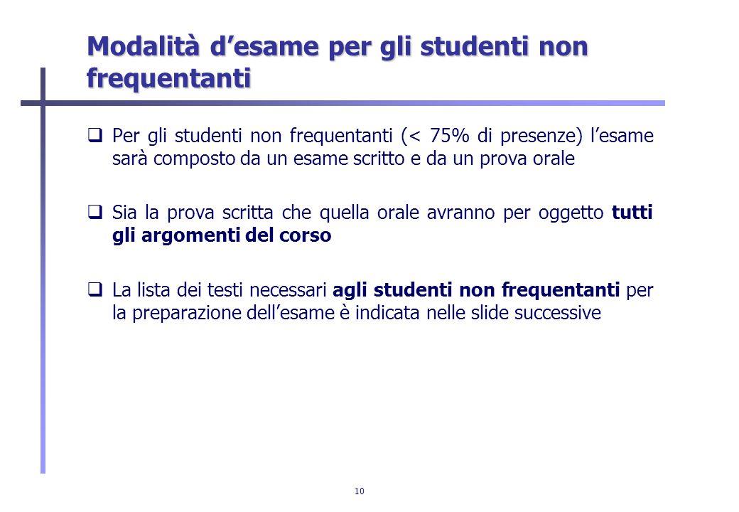 Modalità d'esame per gli studenti non frequentanti