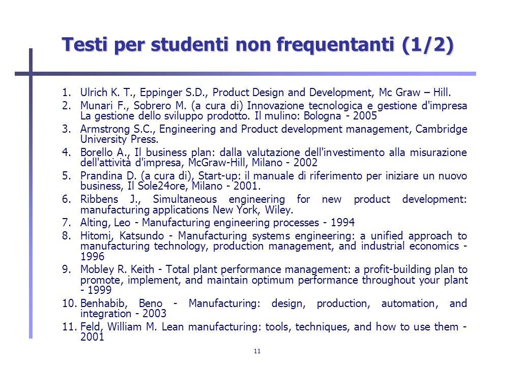 Testi per studenti non frequentanti (1/2)