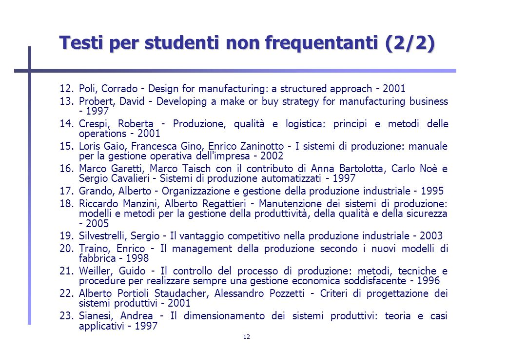 Testi per studenti non frequentanti (2/2)