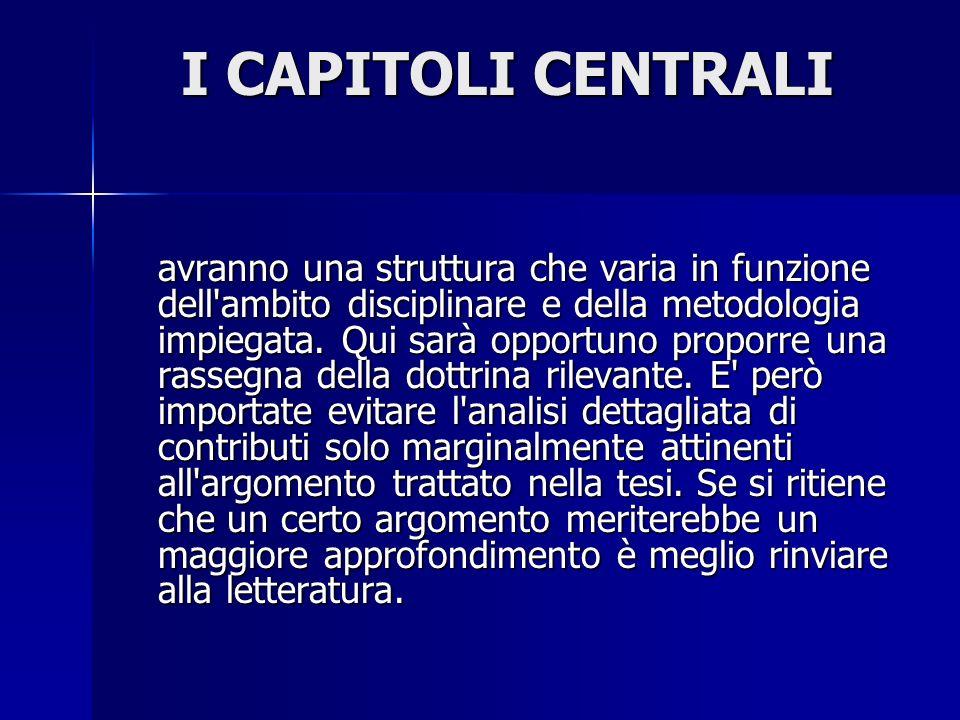 I CAPITOLI CENTRALI
