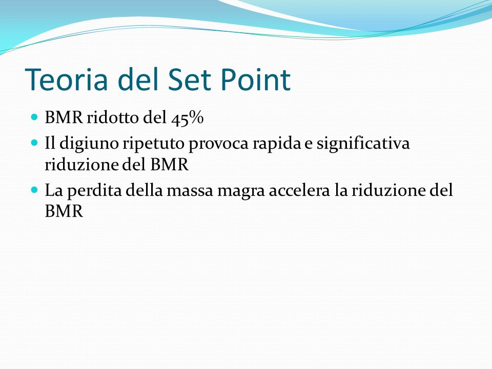Teoria del Set Point BMR ridotto del 45%