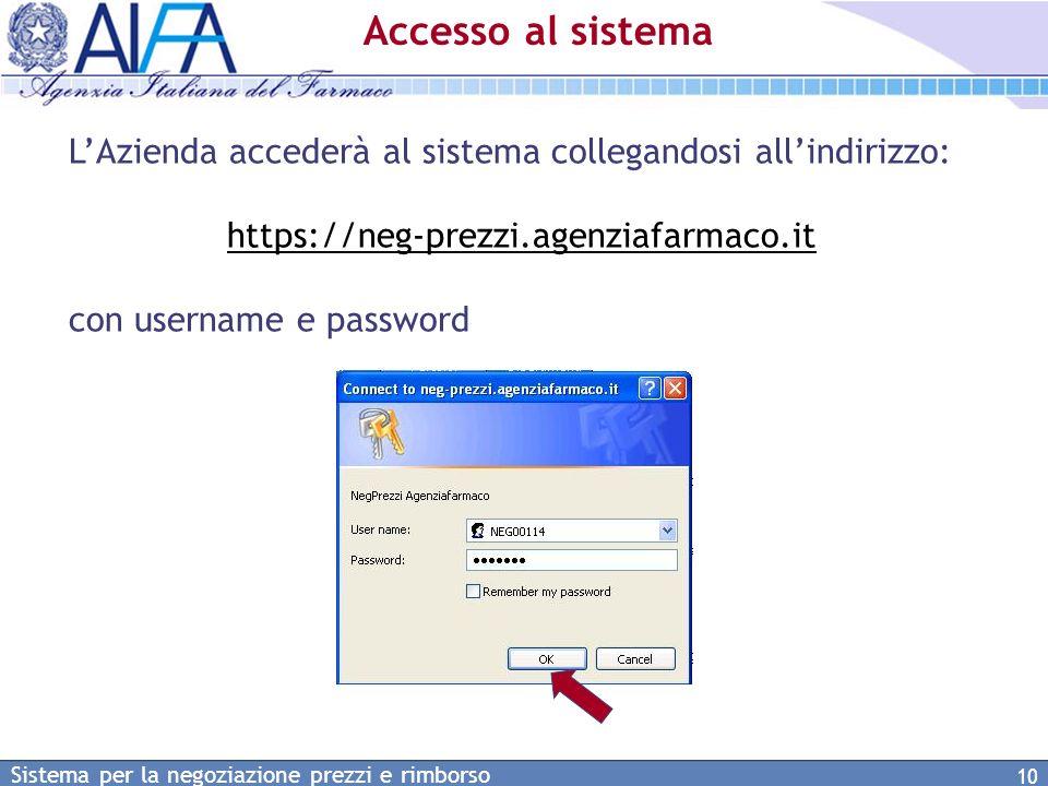 Accesso al sistema L'Azienda accederà al sistema collegandosi all'indirizzo: https://neg-prezzi.agenziafarmaco.it.