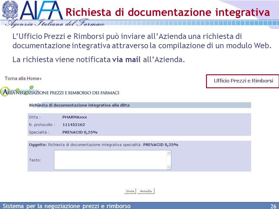Richiesta di documentazione integrativa