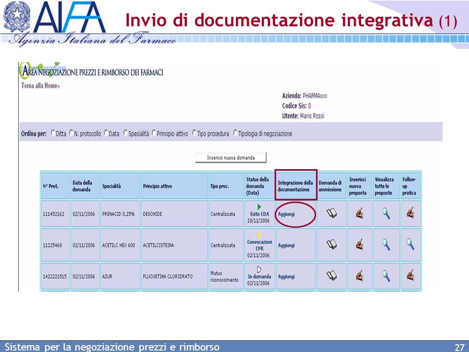 Invio di documentazione integrativa (1)
