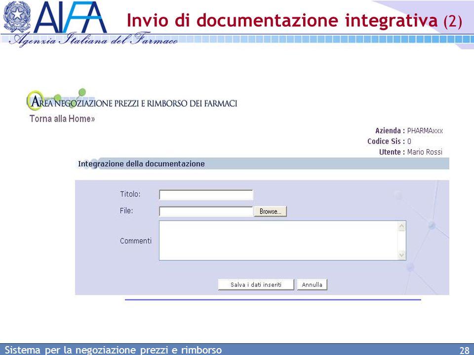 Invio di documentazione integrativa (2)