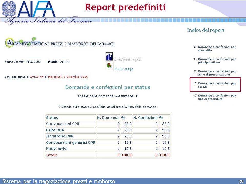 Report predefiniti