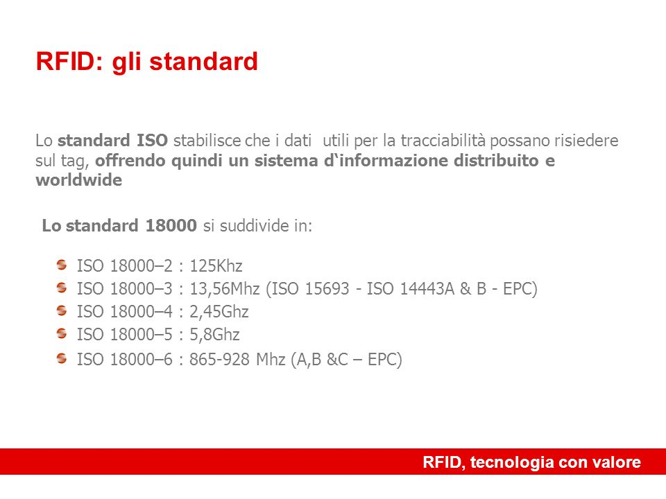 RFID: gli standard Lo standard 18000 si suddivide in: ISO 18000–2 : 125Khz. ISO 18000–3 : 13,56Mhz (ISO 15693 - ISO 14443A & B - EPC)