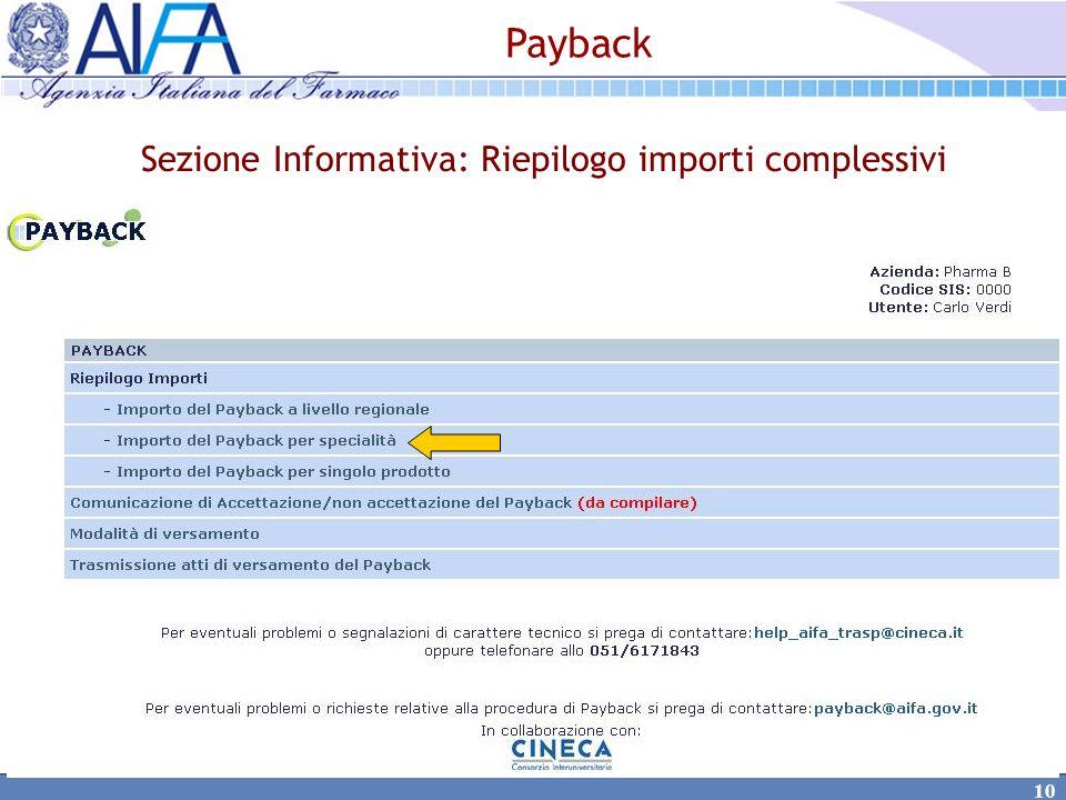 Sezione Informativa: Riepilogo importi complessivi