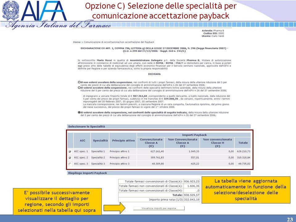 Opzione C) Selezione delle specialità per comunicazione accettazione payback