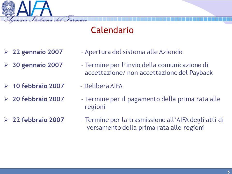 Calendario 22 gennaio 2007 - Apertura del sistema alle Aziende