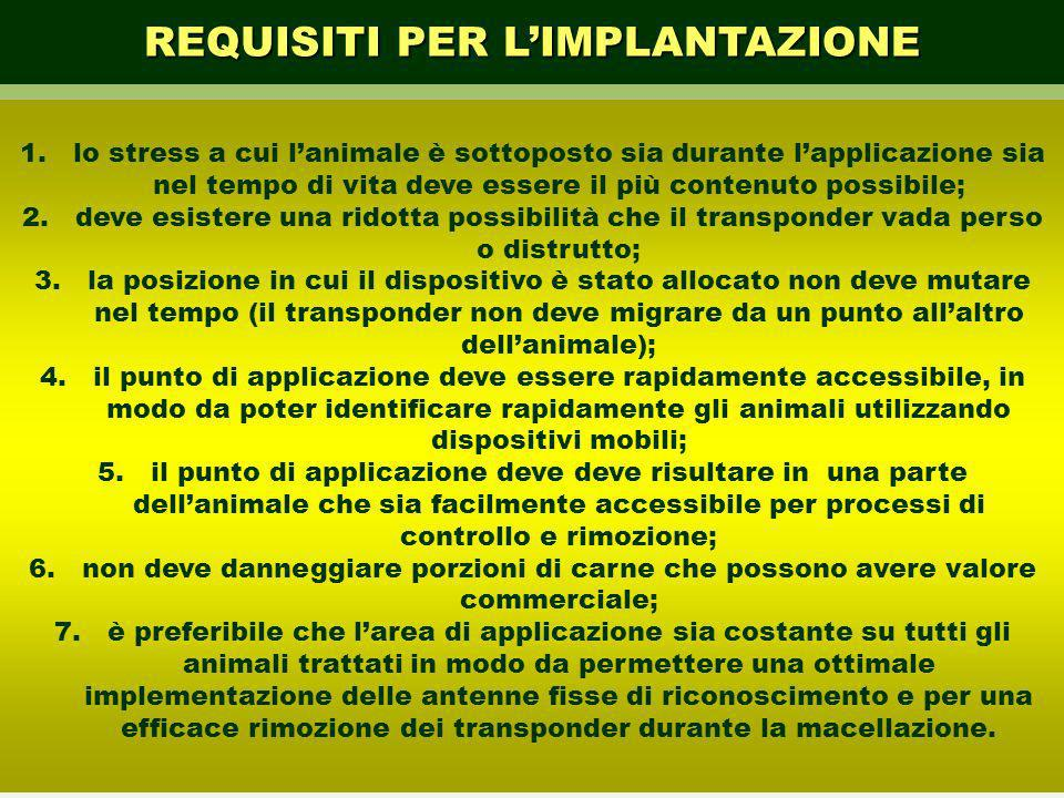 REQUISITI PER L'IMPLANTAZIONE