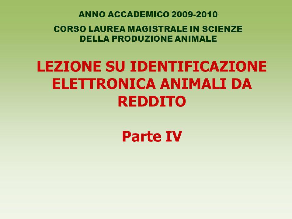 LEZIONE SU IDENTIFICAZIONE ELETTRONICA ANIMALI DA REDDITO