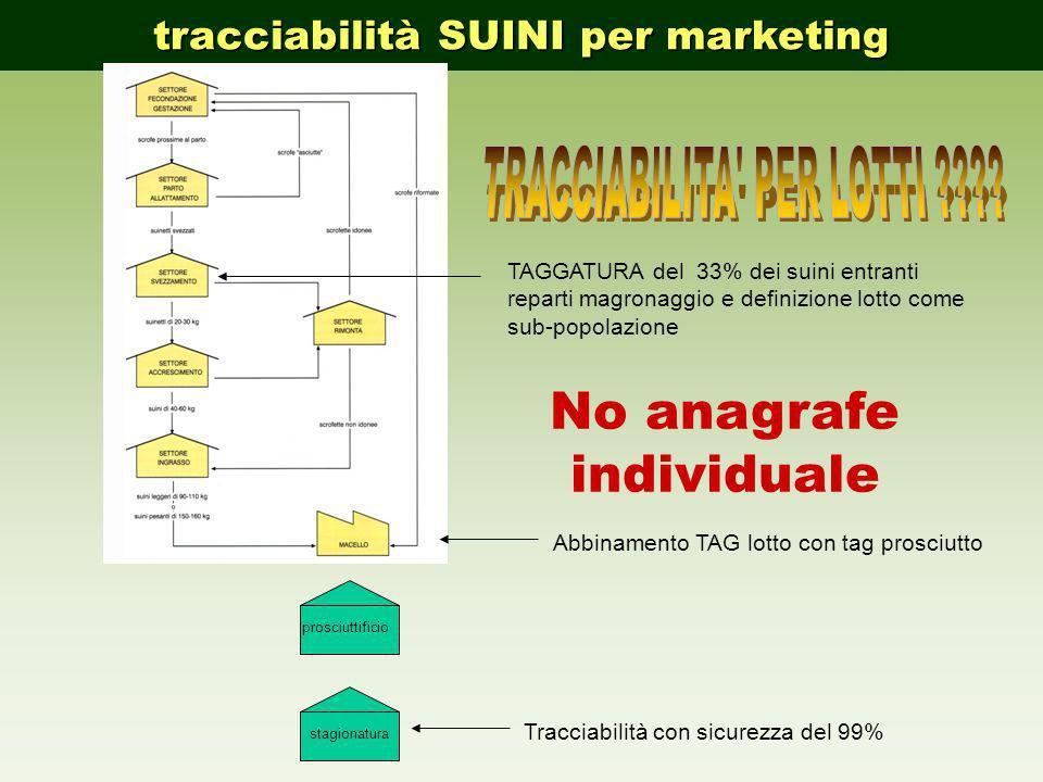 TRACCIABILITA PER LOTTI No anagrafe individuale