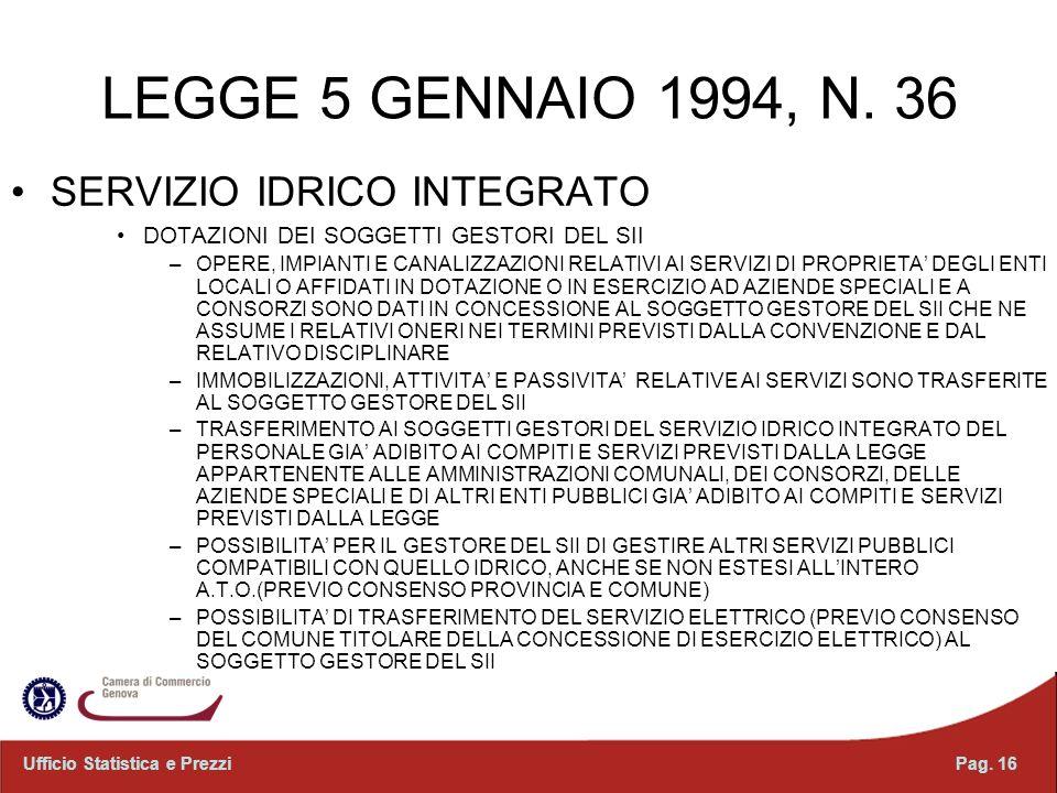 LEGGE 5 GENNAIO 1994, N. 36 SERVIZIO IDRICO INTEGRATO