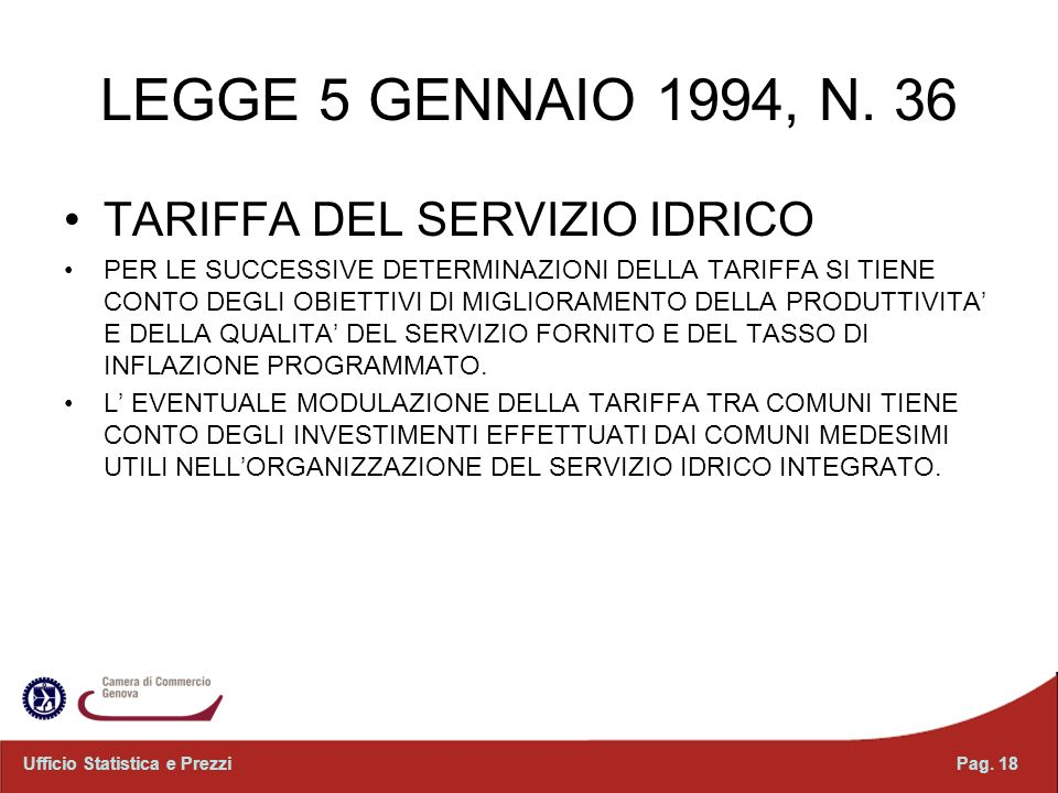LEGGE 5 GENNAIO 1994, N. 36 TARIFFA DEL SERVIZIO IDRICO
