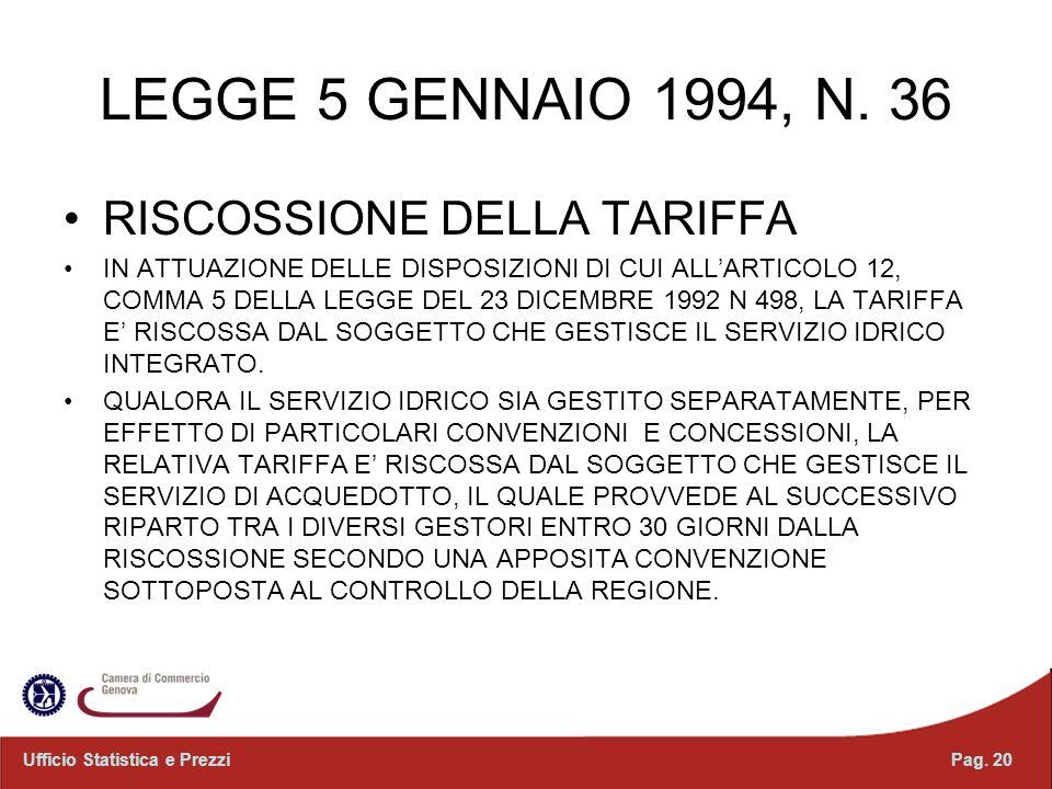 LEGGE 5 GENNAIO 1994, N. 36 RISCOSSIONE DELLA TARIFFA