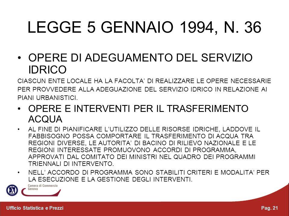 LEGGE 5 GENNAIO 1994, N. 36 OPERE DI ADEGUAMENTO DEL SERVIZIO IDRICO