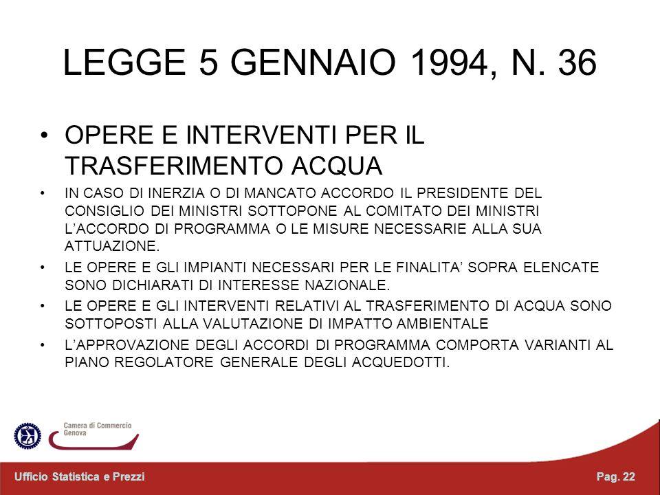 LEGGE 5 GENNAIO 1994, N. 36 OPERE E INTERVENTI PER IL TRASFERIMENTO ACQUA.