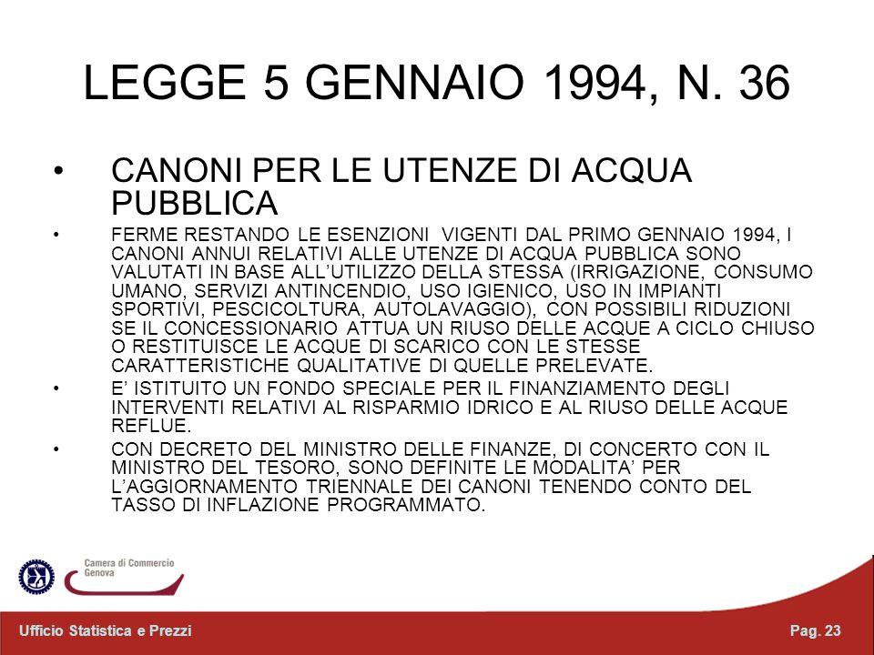 LEGGE 5 GENNAIO 1994, N. 36 CANONI PER LE UTENZE DI ACQUA PUBBLICA