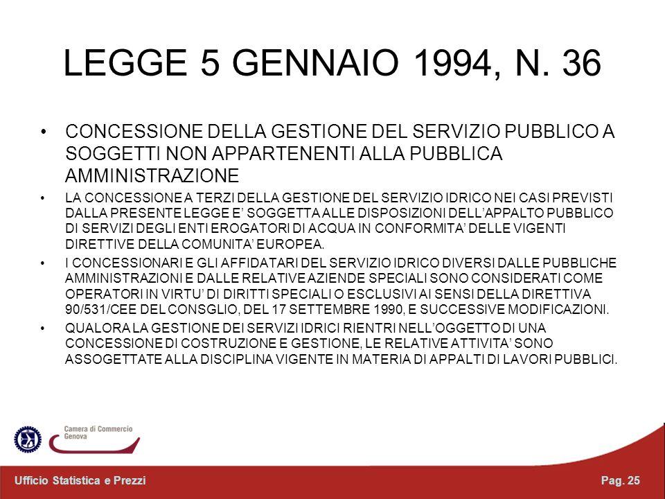 LEGGE 5 GENNAIO 1994, N. 36 CONCESSIONE DELLA GESTIONE DEL SERVIZIO PUBBLICO A SOGGETTI NON APPARTENENTI ALLA PUBBLICA AMMINISTRAZIONE.
