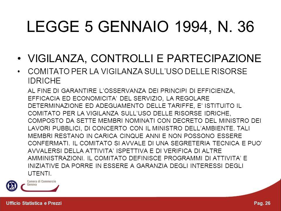 LEGGE 5 GENNAIO 1994, N. 36 VIGILANZA, CONTROLLI E PARTECIPAZIONE