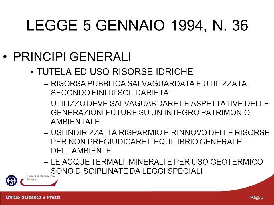 LEGGE 5 GENNAIO 1994, N. 36 PRINCIPI GENERALI