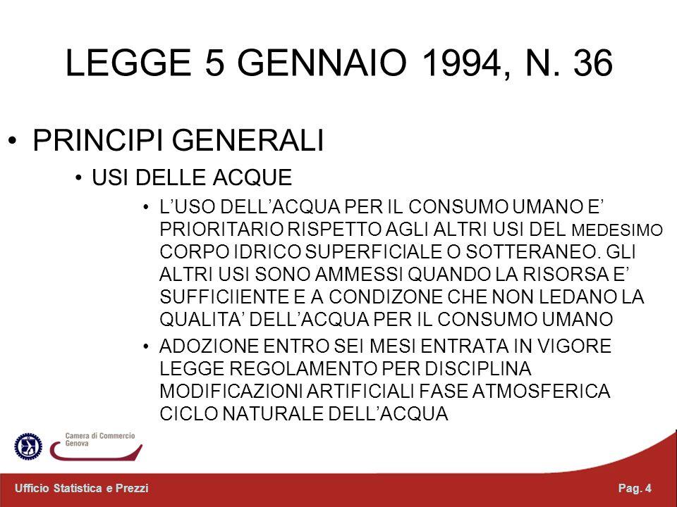 LEGGE 5 GENNAIO 1994, N. 36 PRINCIPI GENERALI USI DELLE ACQUE