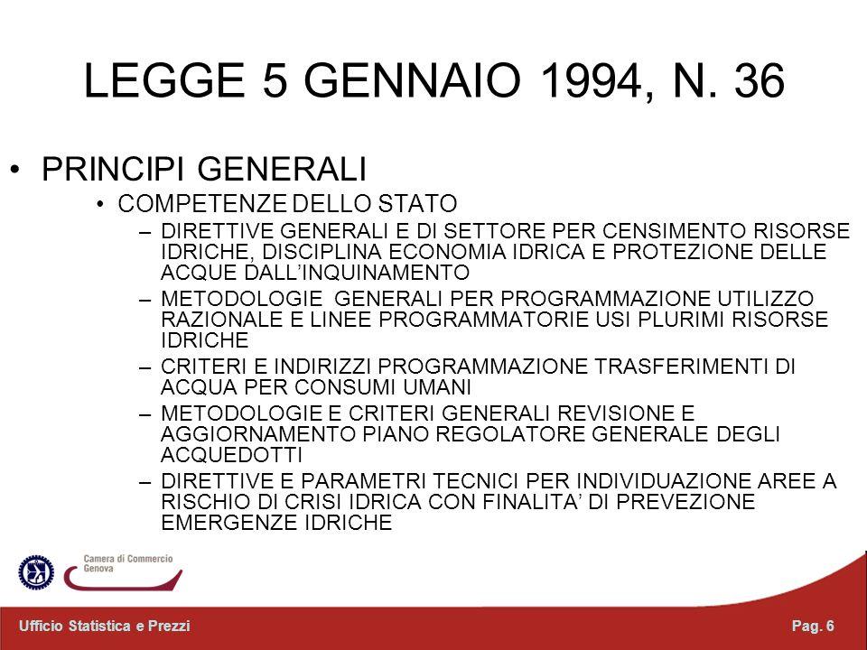LEGGE 5 GENNAIO 1994, N. 36 PRINCIPI GENERALI COMPETENZE DELLO STATO