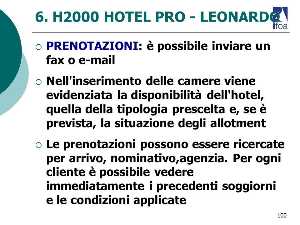6. H2000 HOTEL PRO - LEONARDO PRENOTAZIONI: è possibile inviare un fax o e-mail.