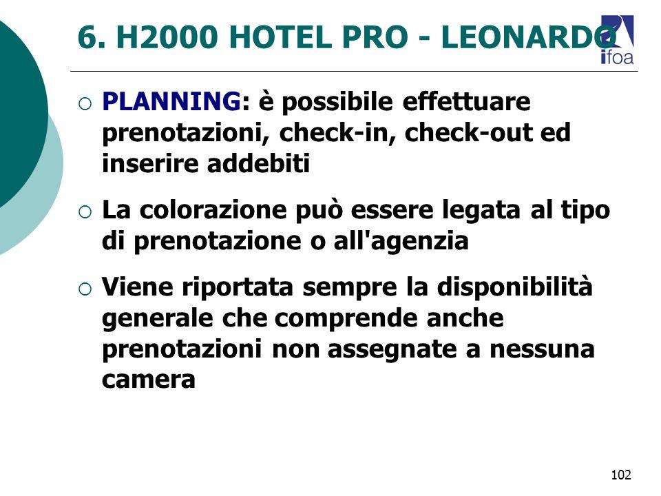 6. H2000 HOTEL PRO - LEONARDO PLANNING: è possibile effettuare prenotazioni, check-in, check-out ed inserire addebiti.