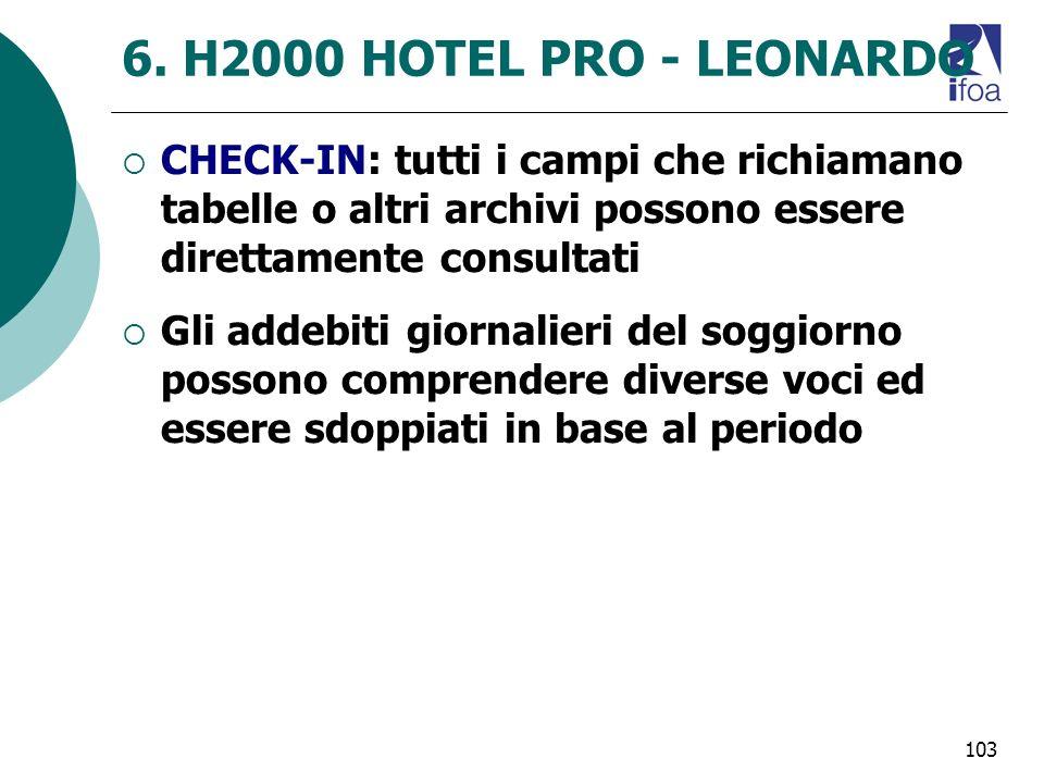 6. H2000 HOTEL PRO - LEONARDO CHECK-IN: tutti i campi che richiamano tabelle o altri archivi possono essere direttamente consultati.