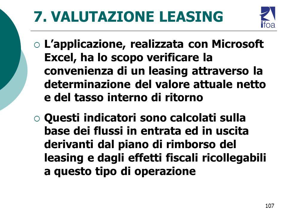 7. VALUTAZIONE LEASING