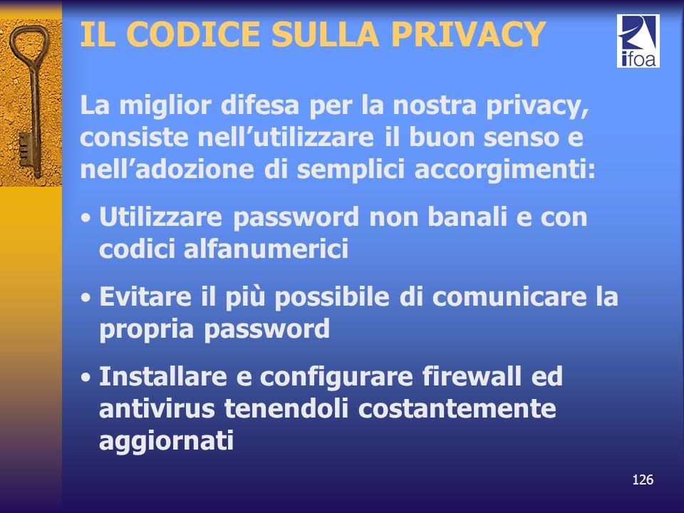 IL CODICE SULLA PRIVACY