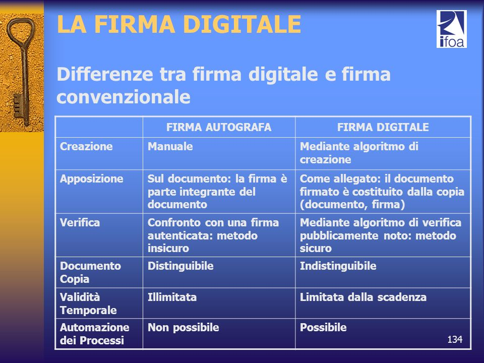 LA FIRMA DIGITALE Differenze tra firma digitale e firma convenzionale
