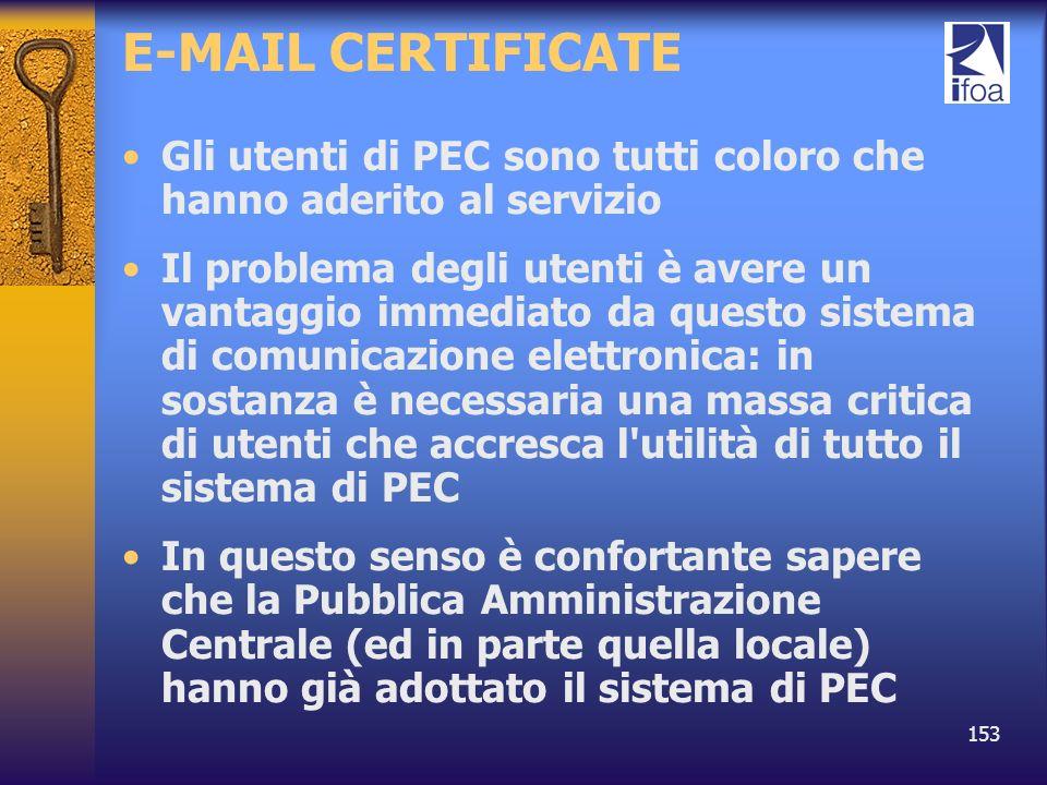 E-MAIL CERTIFICATE Gli utenti di PEC sono tutti coloro che hanno aderito al servizio.