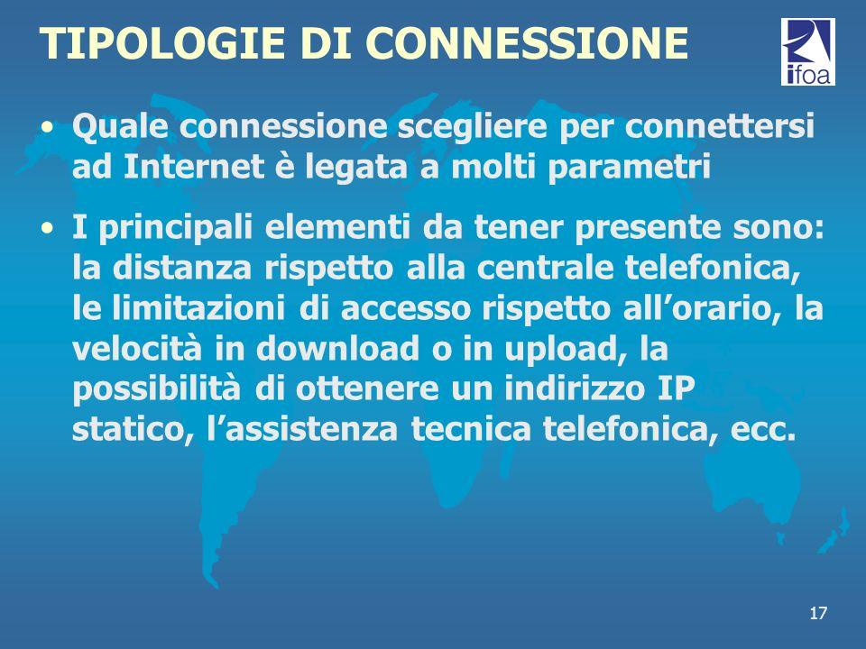 TIPOLOGIE DI CONNESSIONE