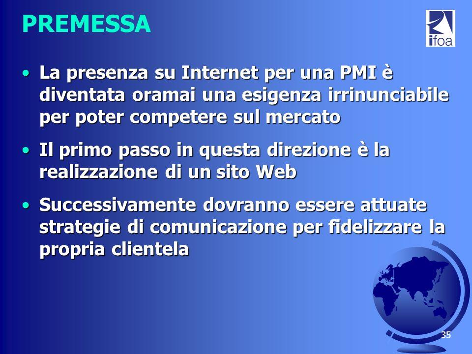 PREMESSA La presenza su Internet per una PMI è diventata oramai una esigenza irrinunciabile per poter competere sul mercato.